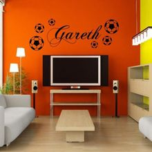 Custom made PERSONALIZED FOOTBALL  sports boys name bedroom  vinyl Wall Sticker For Kids Rooms Decoration-you choose name