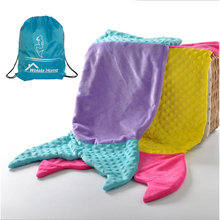 Double-deck Reversible Mermaid Tail Blanket Soft Minky Polar Fleece Fabric Sheeping Bag for Adult/Toddler Kids with FREE Daypack(China)