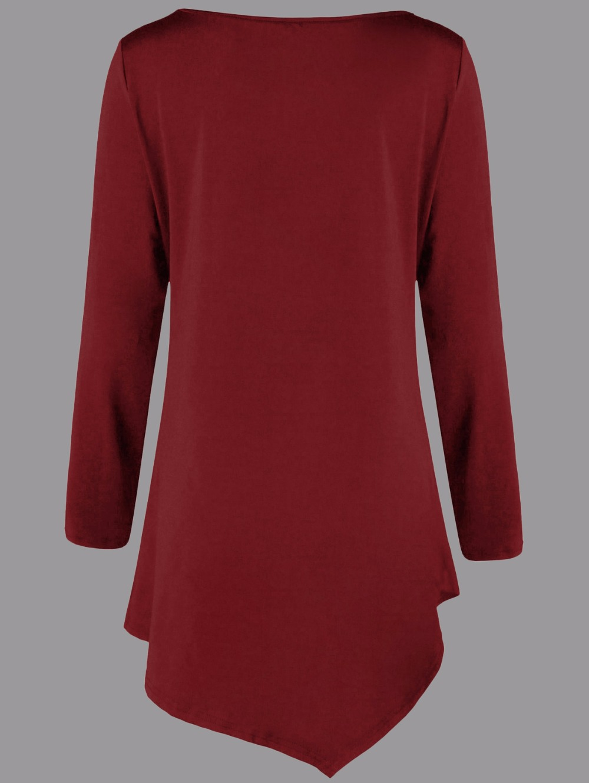 VESTLINDA Plus Size Two Tone Asymmetric Tunic Tee Shirt Women Fashion O Neck Long Sleeves Casual Long T-Shirt Ladies Tops 5XL 14