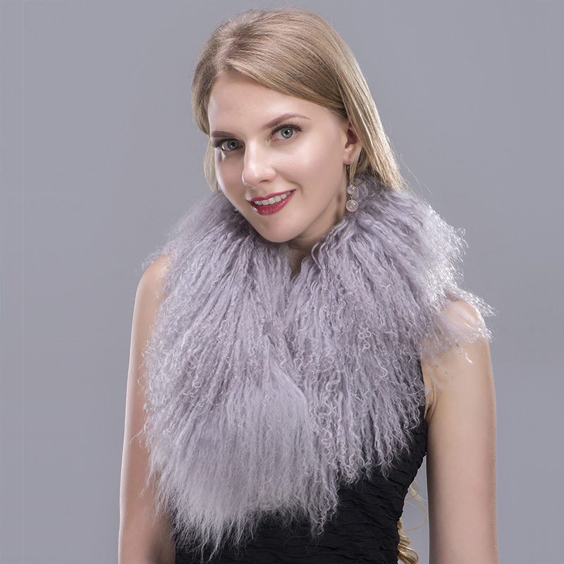 tibet lamb fur scarf grey 4