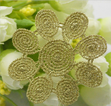 30pcs/lot Gold Thread Lace Flower Applique Footprint Silk Thread Mesh Trim For Wedding Dress Garment Decoration DIY Lace Cloth(China)