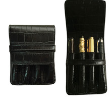 NEW DISIGN CROCODILE SKIN PATTERN BLACK ROLLER AND FOUNTAIN PENS CASE HOLDER FOR 4 PEN