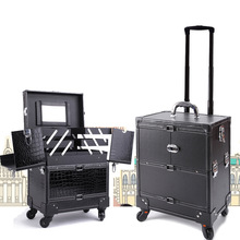 Professional Black Multilayer Trolley Make Up Tattoo Case Large  Capacity With Mirror Storage Box Cleaning Tools Tattoo Supplies