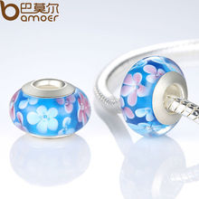 Fascinating Silver Color Blue Murano Glass Flower Beads Fit Bracelet & Necklace Jewelry Making PA6323