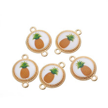 "DoreenBeads Zinc Based Alloy Connectors Pineapple/ Ananas Fruit Pendant White & Yellow Round 26mm(1"") x 19mm( 6/8""), 5 PCs"