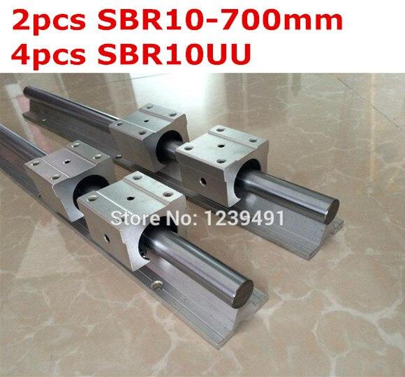 2pcs SBR10  -  700mm linear guide + 4pcs SBR10UU block<br>