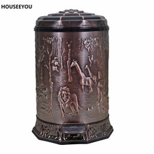 Upscale Retro style Dustbin European Style Trash Can Bronze Garbage With Exquisite Pattern Quiet Foot Pedal Elegant Trash 6L/10L(China)