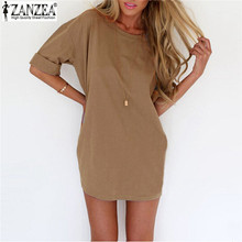 Buy Top 2017 Summer Dress Women Sexy Fashion Solid Dresses O-Neck Half Sleeve Loose Casual Mini Dress Vestidos Plus Size for $6.15 in AliExpress store