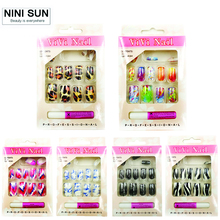 12 Sets/Lot Wholesale Fake Nails With Glue New Cheap Full Cover Artificial Colorful 16 Designs Acrylic Nail Art Tips Supplier