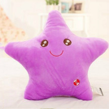 Multi Colors Luminous Star Smile Face Pillow with LED Lighting Flashing Plush Dolls Cushion for Kids Toys Birthday Present Gift