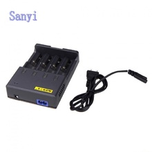 4 Slots Smart LCD USB Battery Charger 3.2V/3.7V for 26650 18650 18500 14500 for NIMH/NICD Aircraft + Power Adpater+Flashlight
