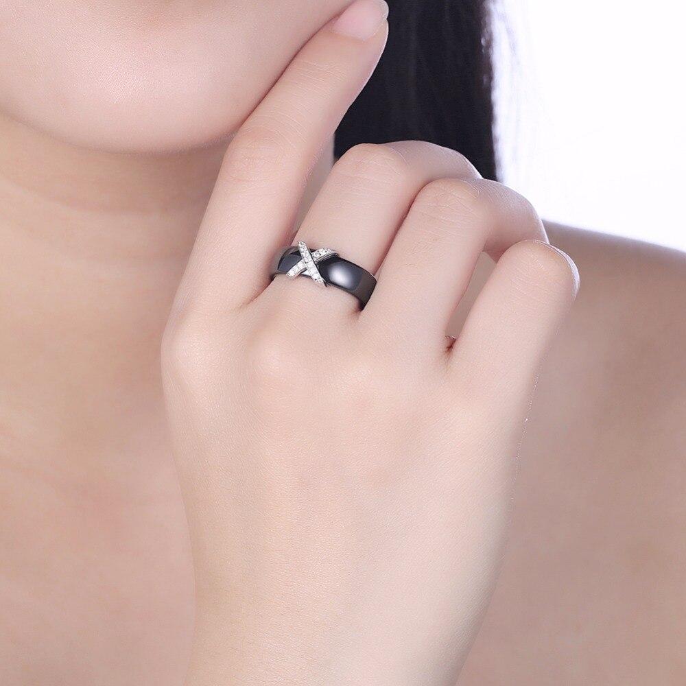 2018 Gnimegil Black Ceramic Rings Plus Cross Cubic Zirconia For ...