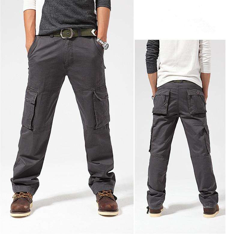 Mens New Multi-Pocket Fashion Cargo Pants Loose Overalls Male Commando Style High-Grade Ourdoor Full-Length Men Casual TrousersÎäåæäà è àêñåññóàðû<br><br>