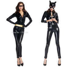 Retail 3 Style Women Sexy Black Faux Leather PU Bodysuit Fantasia Halloween Cat Cosplay Costume Fetish Catwoman Catsuit Mask