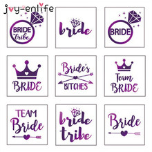 JOY-ENLIFE 1pcs Purple Flash Team Bride Temporary Waterproof Tattoo Wedding Party Bachelor Party Bridesmaid Supplies Photo Props