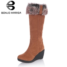 BONJOMARISA 새 웨지 (High) 저 (힐 Solid Round Toe Platform Shoes 대 한 Women Casul Hot Sale 겨울 Boots 3 색(China)