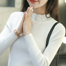 Women Sweaters And Pullovers 2017 Autumn Winter Lady White Sweet Sweater Turtleneck Solid Slim Sexy Elastic Women Pull Tops(China)