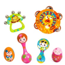 6pcs/set Colorful Baby Rattle Handbell Musical Tambourine Toys Children Baby Toys Cartoon Sand Egg Maracas Drum Bell Rattle Toy
