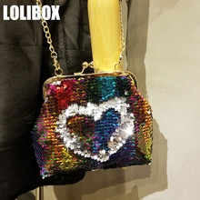 LOLIBOX Women Messenger Bags Colorful Sequins Bling Symphony Metal Small Bag DIY Chain Shoulder Bags Ladies Evening Party Bags(China)