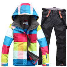 GSOU SNOW female models wind waterproof waterproof breathable warm outdoor winter ski clothes double board free shopping