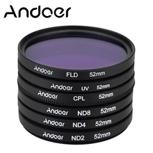 Andoer 52mm UV+CPL+FLD+ND(ND2 ND4 ND8) Photography Filter Kit Set Polarizing Neutral Density for Nikon Canon Sony Pentax DSLRs