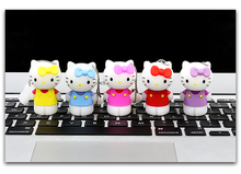 Cute Stand cat Pendrive 128gb USB Flash Drive 2.0 Momery Stick 64G 32G 16G 8G usb Wholesales pen drive Flash 32 gb U Disk(China)