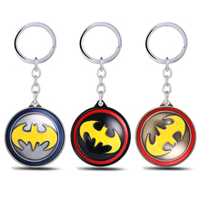Julie Souvenir New Super Hero Movie Batman Keychain Superhero Rotatable Round 3 Colors Key Chain Ring For Valentine Gift