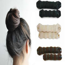 2Pcs Women's Magic Foam Sponge Hairdisk Hair Ring Shaper Styling Device Donut Quick Messy Bun Updo Headwear Black/Beige/Coffee(China)