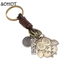 SOHOT 2017 Fashion Women Men Jewellery Key Ring Holder Owl Handbags Pendant Genuine Leather Vintage Key Chains Keychain(China)