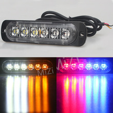 Car-styling 12V 6 Led Strobe Warning Light Amber Red Blue Strobe Grille Flashing Lightbar Ultra-thin Truck Car Lamp lights
