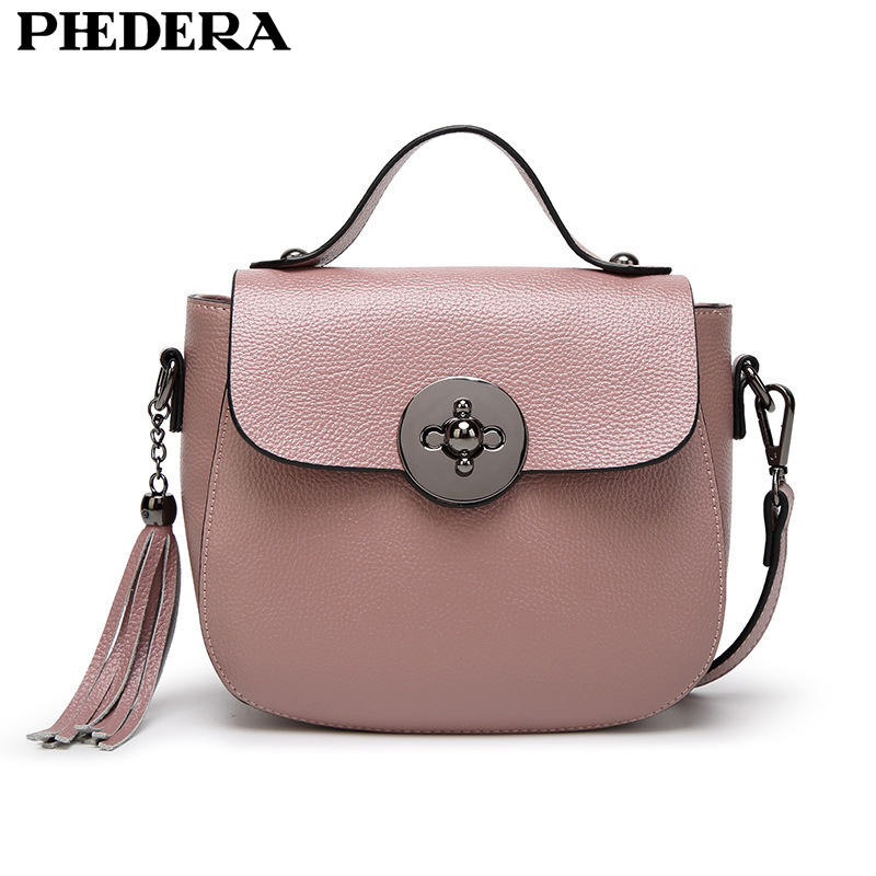 PHEDERA Brand New Summer Leather Ladies Totes Handbags Fashion Tassel Messenger Bags for Women Female Small Black/Gray/Beige Bag<br>