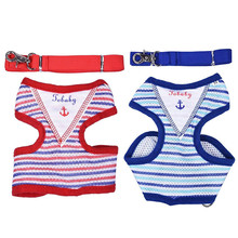 Navy Sailor Striped Dog Harness Pet Puppy Cat Suit Kitten Vest Pets Animal Clothes Dog Accessories + 125cm Walking Training Lead