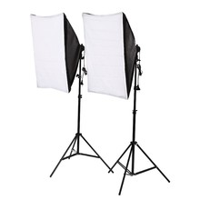 Photography Studio 2x135W Soft Box Continuous Lighting Softbox Light Stand Kit(China)