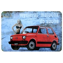 [ Mike86 ] RED Car Sexy Lady Metal Poster Bar Decor Vintage Sticker Wall Tin Sign 20*30 CM A-1081(China)