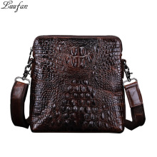 2017 Fashion 100% Genuine Leather Men's Shoulder Bags Alligator Pattern Men Purse Vintage Cowhide Man Messenger Bags iPad purse(China)