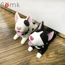 Semk Dog Door Wedge Cute Cartoon Door Stopper Holder PVC safety for baby Home decoration Dog Anime Figures Toys for Children(China)