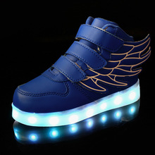 2017 New Kids Boy Girl USB Charger Led Light Unisex Shoes High Top Luminous Sneakers Casual  Shoes  for Baby with Wring Sneaker