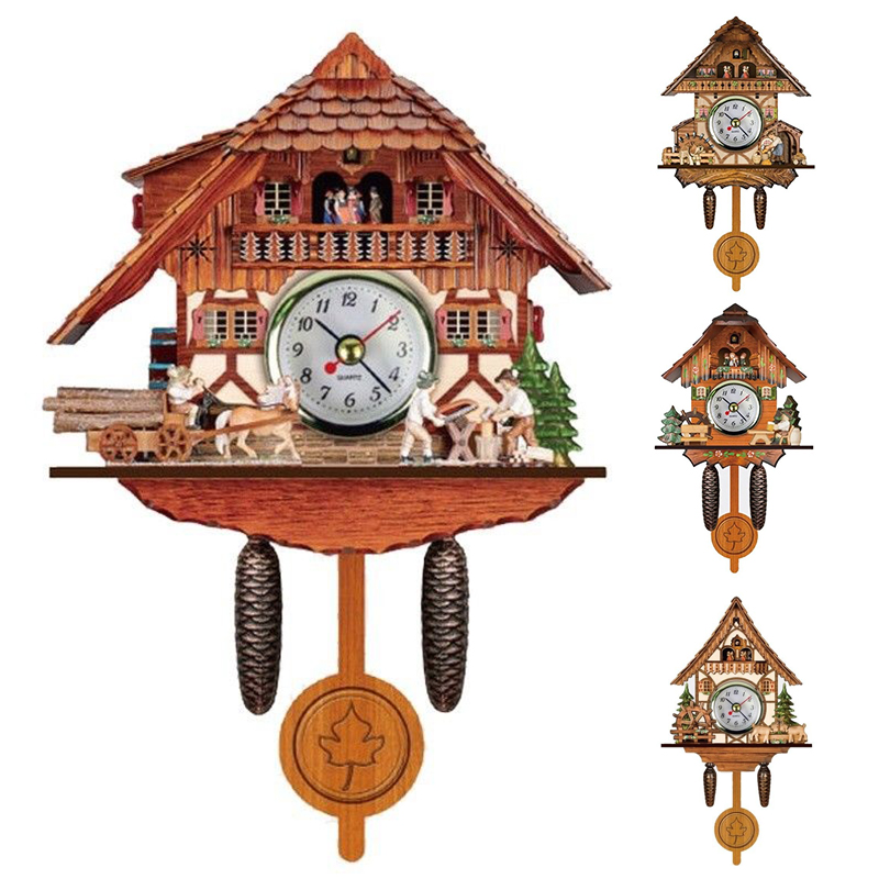 Shellhard 1pc Vintage Antique Cuckoo Wall Alarm Clock Creative Bird Time Bell Wooden Wall Hanging Clock for Farmhouse Home Decor