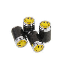 4PCS Car Styling Carbon Fiber Tire Valve Center Caps Auto Parts Wheel Tyre Valve Caps Emblem Yellow Smiling Face