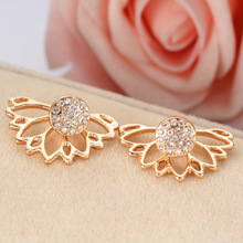 Trendy Jewelry Gold Silver Plated Hollow Out Lotus Flower Crystal Stud Earrings Jacket Piercing Earrings For Women(China)