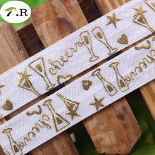 "NEW! #029 white 5/8"" gold foil cheer FOE fold over elastic, gold foil wine glass,hearts,stars for celebrate,welcome custom print"