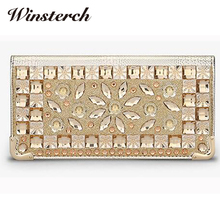 Long Leather Wallet Women Luxury Brand Evening Bags Long Clutch Evening Handbags Purse Wallet Crystal Female Bag  WY029