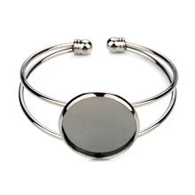 1PC Silver Color 20 25mm Bracelets Setting Round Cabochon Cameo Blank Base Bangle Tray Bezel for DIY Jewelry Craft Findings