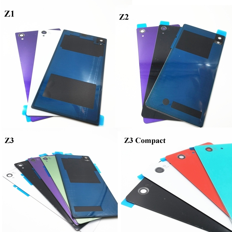 Vecmnoday New Rear Door Battery Back Housing Glass Replacement Cover Case Sony Xperia Z1 Z2 Z3 Z3 Compact Mini Logo