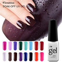 Verntion 7ml 29 Colors Wine Red Series UV LED Gel Nail Art Manicure Varnish soak off top and base coat Nail Gel Polish