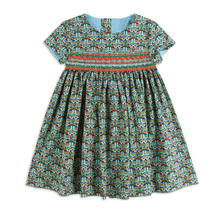 2017 Summer Flower Pattern Printed Smocking Floral Dress for Baby Girls Party Dress for Girls Fashion Clothes Beach Dresses