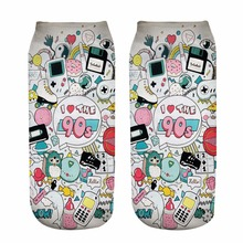 New 3D Print Socks I Love The 90's Women Socks Cute Ankle Sock Multiple Cartoons Casual Type Teenager Print Phone Funny Socks(China)