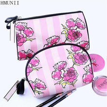 HMUNII Cosmetic Bags High Quality Polyeste Makeup Bags Travel Organizer Necessary Beauty Case Toiletry Bag Bath Wash Make up Box