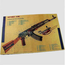 Rifle de asalto AKM modificado estructura Retro Papel de Poster Pared Bar House Art Decoración pintura Mix Order42x30CM F-23