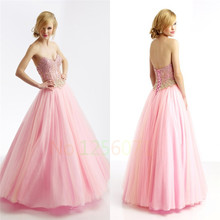 New Collection Beaded A Line Off Shoulder Empire Lace Up Back Floor Length New Arrival Pink Prom Dress